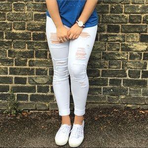 1822 Denim distressed white skinny jeans